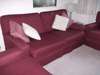 BURGUNDY CLARET COMPACT 3 PIECE SUITE, 3 SEATER SOFA AND 2 ARMCHAIRS