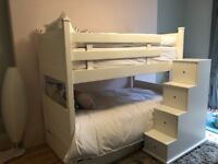 Bunk beds small double with under bed storage and storage stairs white