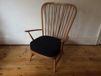 Ercol Tall Back Easy Armchair Original Light Finish 1950s + New Seat Cushion