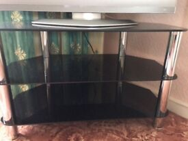 TV stand smoked dark glass with chrome legs
