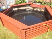 Wooden deck pond