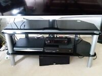 Black gloss 2 tier tv stand with bracket