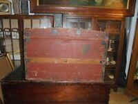 Antique Victorian Pine and Metal Bound Trunk, Chest, Blanket Box. Great Storage.