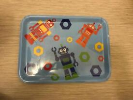 Child's blue robot food tray