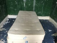 CREAM SINGLE BED BASE INCLUDING MATTRESS