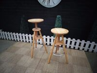 2 SOLID PINE STOOLS BOTH IN EXCELLENT CONDITION 30/30/65 cm ; 30/30/80 cm £20