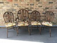 4 x wheel back Ercol dining chairs (including 1 carver) - £50