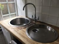Circular Kitchen Sink and Drainer and Mixer Tap