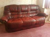 Three Seater Sofa and Two Chairs. Red Leater