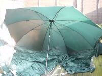 3 X TELESCOPIC RODS, 1 X FISHING UMBRELLA WITH WIND SHIELD PLUS LOTS MORE
