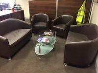 Brown Leather Waiting Area Set