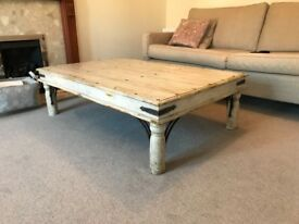 Hardwood shabby-chic low coffee table