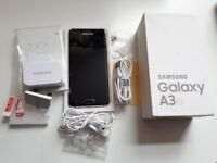 New Samsung Galaxy A3 2017 midnight black unlocked 2GB RAM camera 13 MB back , 8 MB front
