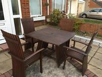 Wooden outdoor table and chairs - fantastic condition