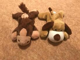 Horse and dog soft toys