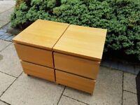 2x Ikea Malm Bedside Tables - Oak Effect - Great Condition