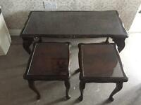 Tuck away nest of three Mahogany tea tables cabriole legs