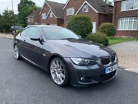 2008 08, E92 BMW 325 3.0 MSPORT AUTO COUPE, 126K, FSH, MOT, RED LEATHERS, 19in ALLOYS, F1 PADDLES