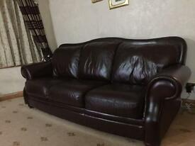 Genuine Leather High Quality Italian 2 Set Sofas - 3 Seaters