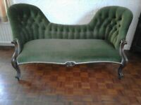 Vintage Chaise Lounge light green with mahogany wood Excellent Condition