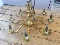 Details about Next Palm Leaf 3 Light Chandelier, Gold effect leaves, Frosted Glass shades and
