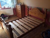 Beautiful Solid Antique Pine Double Bed.