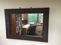 Impressive wall mirror , dark brown frame , would look lovely in a hall, bedroom or lounge