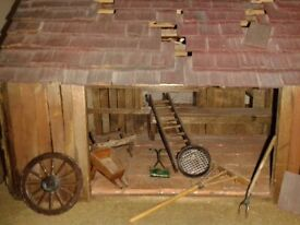 Hand made cart, dresser, and barn