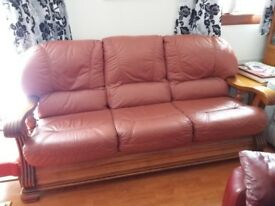 2 leather recliner chairs and 1 sofa