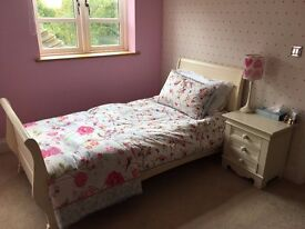 Girls Aspace bed, mattress and bedside table