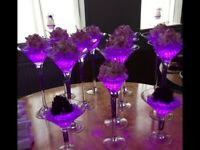 LARGE. JOB LOT PARTY AND WEDDING , CHAIR COVERS SASHES VASES AISLE PEWS MANY EXTRAS
