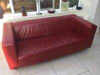 Free Red leather modern settee