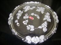 ORIGINAL WALTHER GLAS-GERMANY: Embossed clear glass cake stand -roses motif