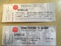 Two tickets available for Othello at Shakespeare's Globe on 6th October 2018 at 2pm