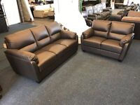 DESIGNER REAL BROWN LEATHER 3 AND 2 SEATER SOFA SET THREE PLUS TWO CHOCOLATE FREE LOCAL DELIVERY