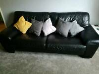 Black 3 & 2 Seater Leather Sofas