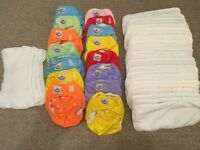 15 Reusable Nappies with boosters and cloth liners