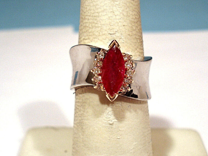 SOLID 10K WHITE GOLD RUBY & DIAMONDS RING ~ SIZE 6 1/2