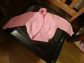 Hand knitted baby cardigans blue, pink