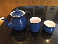 Denby Imperial Blue tea pot, milk jug & sugar bowl