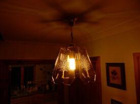 Matching pair of brass and glass pendant lights