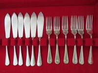 Vintage / Retro T E Osborne Ltd Silver plated Fish Cutlery Set, 6 knives & 6 forks