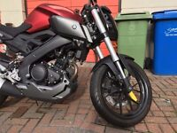 Yamaha MT-125 Red Tank with Very Low Mileage and in Great Condition