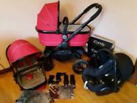 Icandy peach sherbet 3 full travel system with maxicosi car seat pram/pushchair
