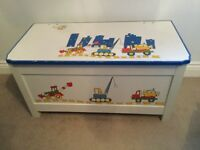 Wooden Toy Box - painted design of diggers & tractors