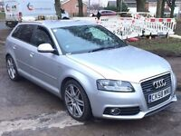 AUDI A3 QUATTRO S LINE 2.0 TDI 170 BHP,HPI CLEAR,1 OWNER,CAMBELT CHANGE,LEATHER HEATED SEATS,SENSORS