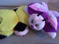 X2 Pillow Pets Bundle - butterfly & bumble bee