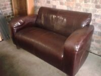 Two seater Dark Brown Leather sofa - DELIVERY AVAILABLE