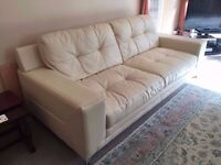Premium Leather Sofas for Sale Cream - 2 x 3 Seater, 1 x Arm Chair - Great Condition