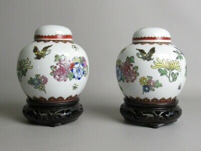 Pair Of Vases Porcelain Chinese with Base Wood Shapes Floral Painted